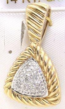 2267: 14KY .07 Diamond chevron triangle pendant: 652196