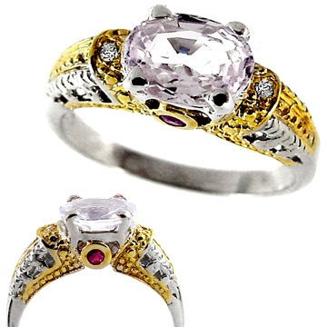 3251: WG 1ct Sapphire dia ruby antique ring: 655410
