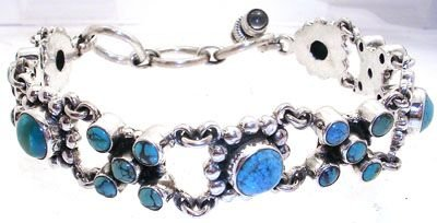 3254: 7 to 8 inch SSilver Turquoise bracelet: 776758