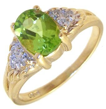 3260: 10KY 1ctOval Peridot diamond ring: 757387