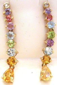 3262: 14KYG Multi-Gem Dangle Earrings: 652102