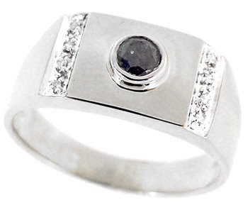 3267: 14WG .30ct black white diamond mans ring: 104088
