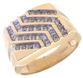 3268: 10KY 1cttw Diamond 5 row Channel set Mens ring: 7