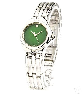 3271: GENEVE SILVER TONE GREEN FACE LADIES WATCH: 84181