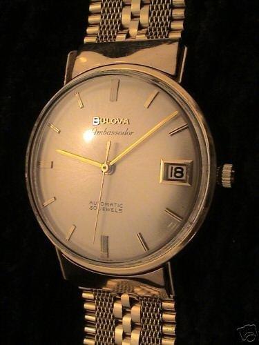 3418: 18KYG Bulova Ambassador 30j date wristwatch mens: