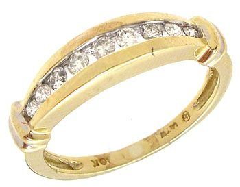 4252: 10KY .15cttw Channel round Diamond set ring: 7573