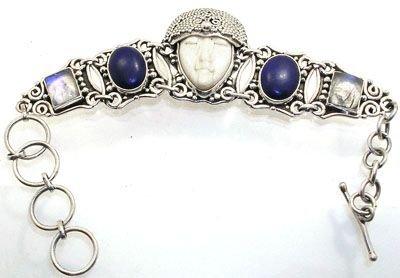 4254: 7-9 inch Bone carved lapis & Moonstone bracelet: