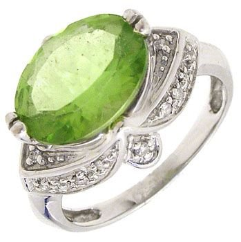 4259: 14KW 2.50ct Peridot oval estate style ring: 65333