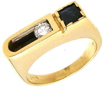 4266: 14KY .35ct Sapphire/.20ctDiamond Mens ring: 75766