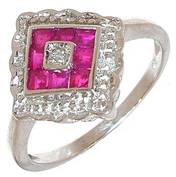 251: 14KW Ruby Princess/Diamond Pyramid Ring: 653161