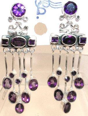 255: SSilver Fancy Amethyst Dangle Earrings: 775763