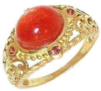 259: 14KY 6x9mm Sunstone Filligree ring: 781176
