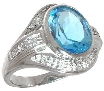 263: 14KW Blue Topaz Oval Diamond Ring: 653155