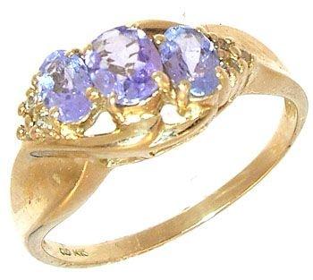 265: 14KY .55ct Tanzanite 3 oval Diamond trio ring: 674