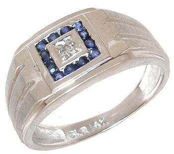 269: 14KW Sapphire round/ diamond Mens ring: 659883