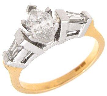 388: 14KY .75ttw Diamond marquise bagguette ring: 65202
