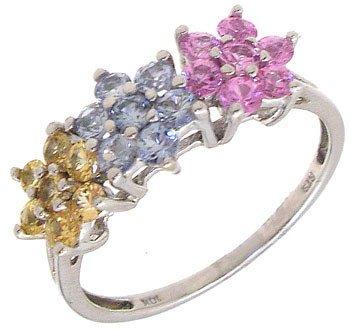 1250: 10KW Multi-Sapphire Flower Ring: 653176