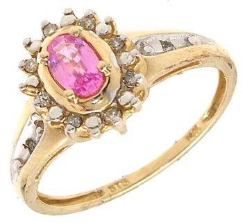 1251: 14KY Pink Sapphire Oval/Diamond Ring: 653174
