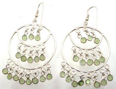 1253: SSilver Peridot Fancy Dangle Earrings: 775771