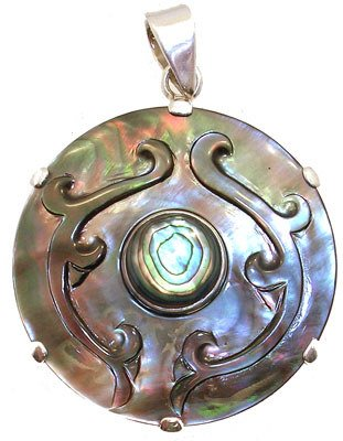 1254: SSilver Abalone Pendant: 757398