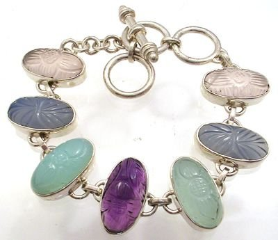 1255: 7 to 8 inch SSilver and multi-gem Bracelet: 77675