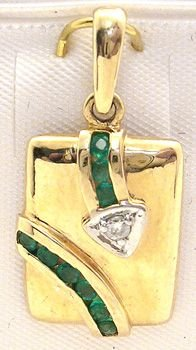 1259: 14K Emerald Round/Diamond Pendant: 781209