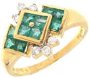 1260: 14KY .50ct Emerald princess .12ct Diamond ring: 6