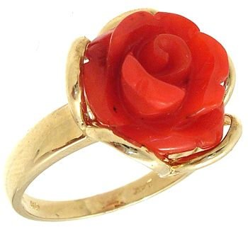1263: 14KYG RED CORAL FLORAL RING: 641395