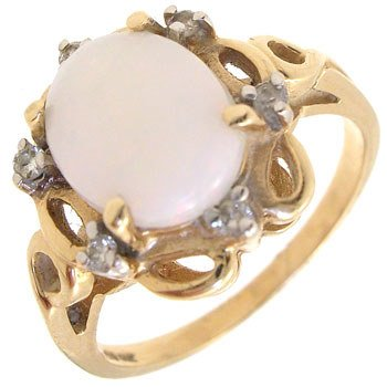 1264: 14KY 2ct opal diamond ring: 500204