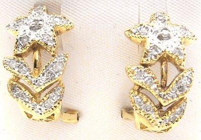 1267: 14KY .16cttw Diamond Pave Flower Earrings: 653285