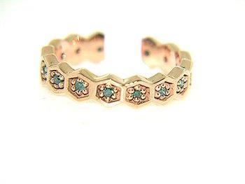 1268: 14KP .32cttw BLUE DIAMOND FLOWER BAND RING: 84163