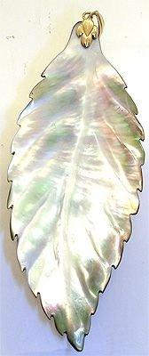 1278: 14KYG Mother of Pearl Leaf Pendant: 641403