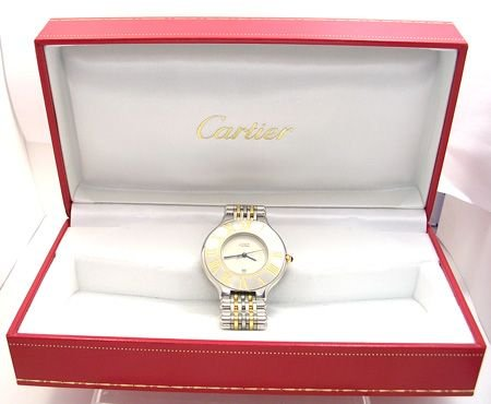 1391: 18KY/W CARTIER MUST 21 Two-Tone LADIES WATCH: 841