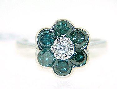 1440: 14KW 1.90cttw BLUE/WHITE DIAMOND FLOWER RING: 841
