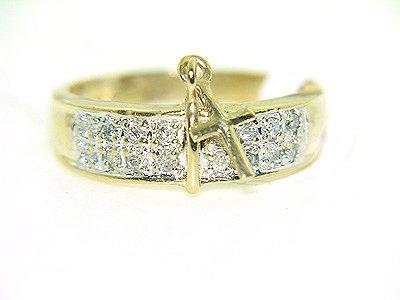 551: 10KY 1.25cttw DIAMOND BAND CROSS CHARM RING: 84150