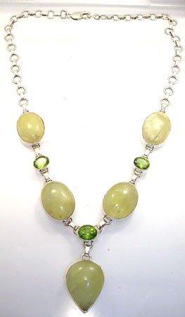 555: SSilver Peridot and Prehnite Necklace: 775774
