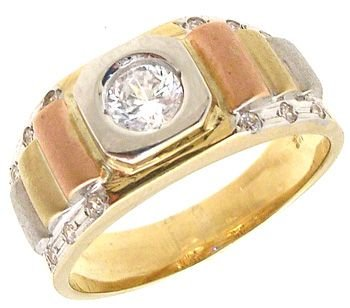 557: 14KY .60ct Cubic Zirconia tri-color mans ring: 750