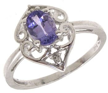 561: 14KW .43ct Tanzanite diamond ring: 781169