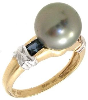 564: 8.5mm Tahitian Black Pearl Sapphire ring: 414908
