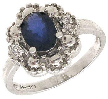 567: 14KW 1ct Sapphire oval Diamond esate syle ring: 67