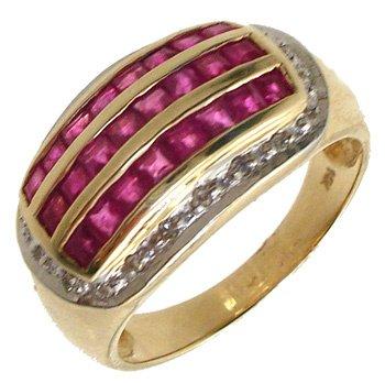 569: 14KY Ruby Princess/Diamond 3 Row Ring: 653284