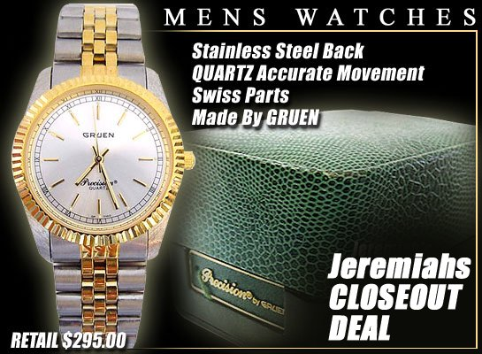 571: GRUEN MENS 2 TONE PRECISION QUARTZ WATCH: gruen2