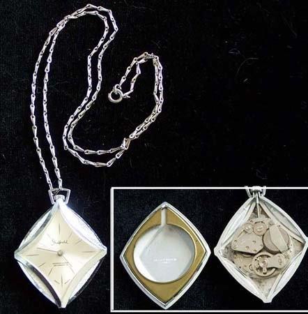 572: Vintage Sheffield pocketwatch pendant & necklace: