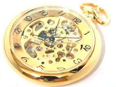 573: Mechanical POCKET WATCH w/ carrying pouch & chain: