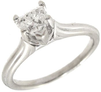 614: 14KW .50ct SI2 G Diamond Heart solitaire Ring: 635