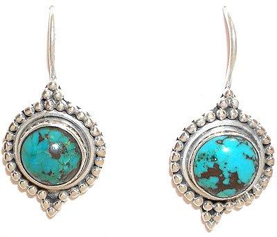2253: SSilver Bezel Turquoise earrings: 775759