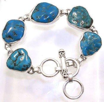 2254: SSilver Turquoise link bracelet: 752275