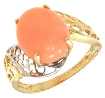 2259: 14KY Angelskin Coral Oval Filigree Ring: 635536