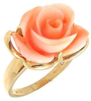 2260: 14KY Angelskin Coral Carved Rose Ring: 789729