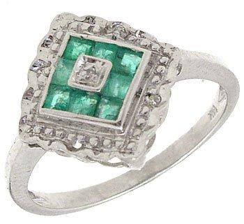 2261: 14KW Emerald Princess/Diamond Pyramid Ring: 65317